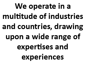 We operate in a multitude of industries and countries, drawing upon a wide range of expertises and experiences
